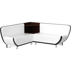 Кухонный угловой диван АртМебель Лотос эко-кожа (белый/черный) угол правый