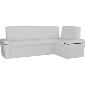 Кухонный угловой диван АртМебель Деметра эко-кожа (белый) правый угол