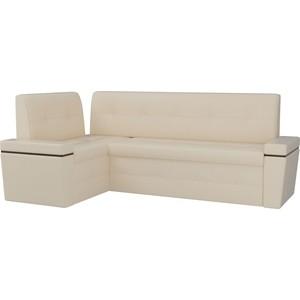 Кухонный угловой диван АртМебель Деметра эко-кожа (бежевый) левый угол угловой диван артмебель андора ткань правый