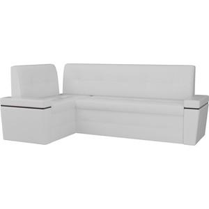 Кухонный угловой диван АртМебель Деметра эко-кожа (белый) левый угол угловой диван артмебель андора ткань левый