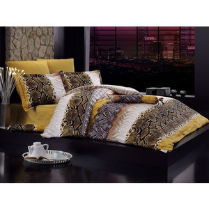 Комплект постельного белья Istanbul Евро, сатин, Enzo золотой (6206золотой) комплект белья feather евро кпб сатин панно наволочки 50х70 70х70