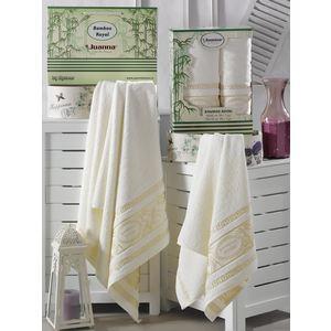 Набор из 2 полотенец Juanna Royal кремовый бамбук (50x90-1/70x140-1) (7574кремовый)