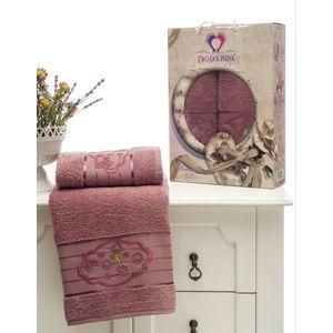 где купить Набор из 2 полотенец Two dolphins Romantic Styles брусничный махра с вышивкой (50x90/70х140) (8804брусничный) по лучшей цене