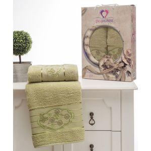 где купить Набор из 2 полотенец Two dolphins Romantic Styles зелёный махра с вышивкой (50x90/70х140) (8804зелёный) по лучшей цене
