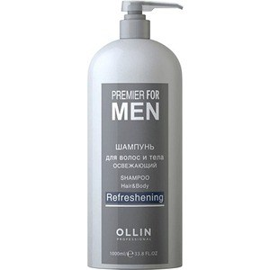 OLLIN PROFESSIONAL PREMIER FOR MEN Шампунь для волос и тела освежающий Shampoo Hair&Body Refreshening 1000мл premier набор в косметичке шелккрем для рук крем для ног лосьон для тела premier gifts amazing silk body trio b79 1 шт