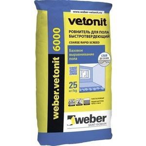 Стяжка для пола WEBER.VETONIT 6000 быстротвер. 25кг. стяжка пола стройбриг цемерин fc40 для толстослойного выравнивания 25 кг