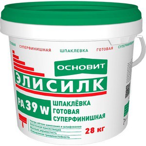 Шпатлевка ОСНОВИТ готовая ЭЛИСИЛК PA39 W суперфинишная полимерная белая 28кг. шпатлевка ceresit ст 95 25 кг полимерная готовая