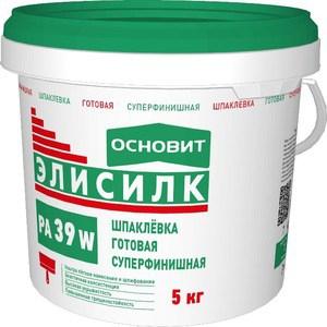 Шпатлевка ОСНОВИТ готовая ЭЛИСИЛК PA39 W суперфинишная полимерная белая 5кг. шпатлевка ceresit ст 95 25 кг полимерная готовая