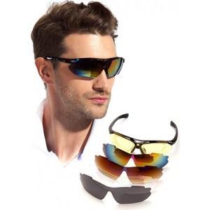 Очки спортивные Bradex солнцезащитные с 5 сменными линзами в чехле, черные
