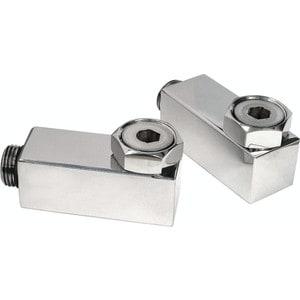 Комплект уголков для полотенцесушителя Grota 1/2 3/4 с накидной гайкой, квадрат, полироаванная сталь 2 шт. 4 3 2 1