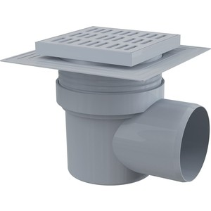 Душевой трап AlcaPlast 150x150/110 решетка - серая, гидрозатвор - мокрый (APV10)