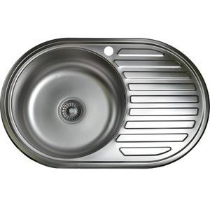 Кухонная мойка Pegas 77х50 0,6 правая, матовая (7750W R мт)