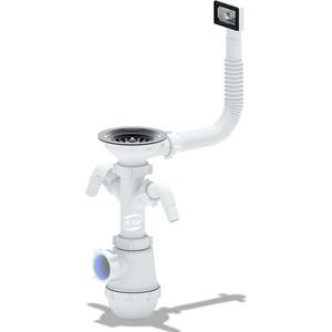 Сифон для мойки АНИ пласт Грот 3 1/2х40 с отводами для стиральной и посудомоечной машин (A0146S)
