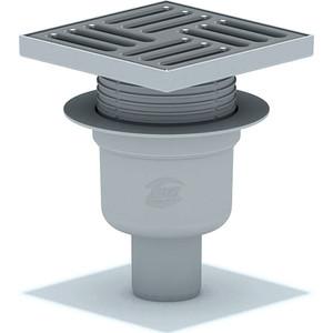 Душевой трап АНИ пласт 15х15/50 вертикальный, регулируемый, мокрый затвор, решетка из нерж. стали (TA5712)