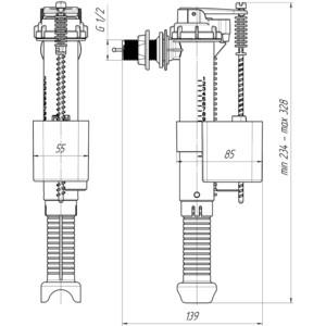 Впускной механизм АНИ пласт 1/2 боковой, штуцер латунный (WC5020)