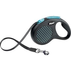 Рулетка Flexi Design M-L лента 5м черная/голубой горошек для собак до 50кг