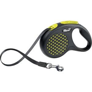 Рулетка Flexi Design M-L лента 5м черная/желтый горошек для собак до 50кг