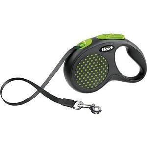 Рулетка Flexi Design M-L лента 5м черная/зеленый горшек для собак до 50кг