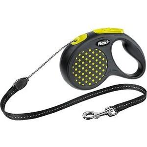 Рулетка Flexi Design S трос 5м черный/желтый горошек для собак до 12кг