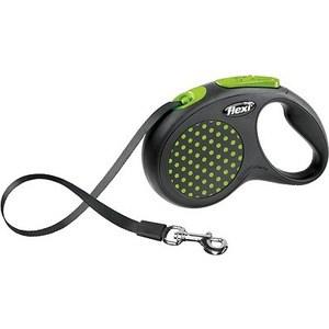 Рулетка Flexi Design S лента 5м черная/зеленый горошек для собак до 15кг