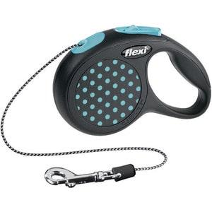 Рулетка Flexi Design XS трос 3м черная/голубой горошек для собак до 8кг