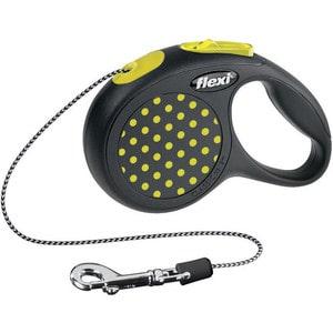 Рулетка Flexi Design XS трос 3м черная/желтый горошек для собак до 8кг