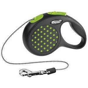 Рулетка Flexi Design XS трос 3м черный/зеленый горошек для собак до 8кг