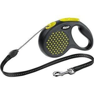 Рулетка Flexi Design М трос 5м черный/желтый горошек для собак до 20кг рулетка flexi design м трос 5м черный желтый горошек для собак до 20кг