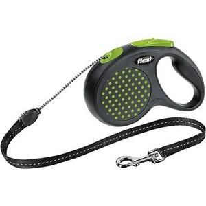 Рулетка Flexi Design М трос 5м черный/зеленый горох для собак до 20кг рулетка flexi design м трос 5м черный желтый горошек для собак до 20кг