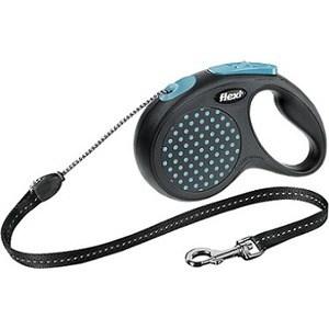 Рулетка Flexi Design М трос 5м черный/синий горох для собак до 20кг рулетка flexi design м трос 5м черный желтый горошек для собак до 20кг