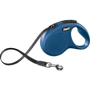 Рулетка Flexi New Classic M-L лента 5м синяя для собак до 50кг