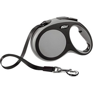 flexi new comfort рулетка l ремень 8м 50кг синяя Рулетка Flexi New Comfort L лента 8м черный/серый для собак до 50кг