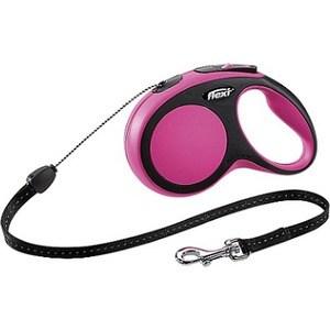 Рулетка Flexi New Comfort S трос 5м черный/розовый для собак до 12кг рулетка flexi new comfort s трос 5м черный розовый для собак до 12кг