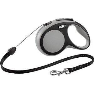Рулетка Flexi New Comfort S трос 5м черный/серый для собак до 12кг поводок рулетка flexi new comfort м трос для собак весом до 20 кг цвет черный серый 5 м