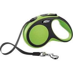 Рулетка Flexi New Comfort S лента 5м черный/зеленый для собак до 15кг поводок рулетка triol colour цвет голубой черный длина 5 м размер s