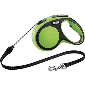Рулетка Flexi New Comfort М трос 5м черный/зеленый для собак до 20кг рулетка flexi design м трос 5м черный желтый горошек для собак до 20кг