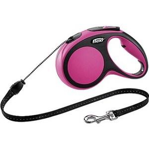 Рулетка Flexi New Comfort М трос 5м черный/розовый для собак до 20кг рулетка flexi new classic м трос 5м черная для собак до 20кг
