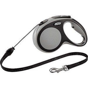 Рулетка Flexi New Comfort М трос 5м черный/серый для собак до 20кг рулетка flexi design м трос 5м черный желтый горошек для собак до 20кг