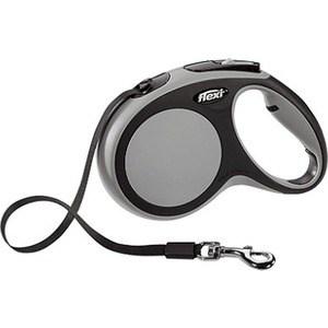 Рулетка Flexi New Comfort М лента 5м черный/серый для собак до 25кг
