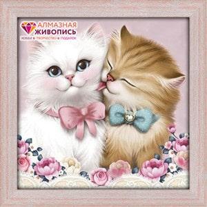 Алмазная мозаика Алмазная живопись Кот и кошка (АЖ-1296)