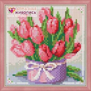 Алмазная мозаика Алмазная живопись Тюльпаны в подарок (АЖ-1449)