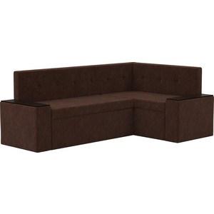 Кухонный угловой диван АртМебель Остин микровельвет коричневый правый угол