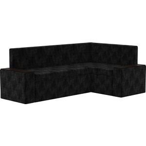 Кухонный угловой диван АртМебель Остин микровельвет черный правый угол