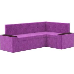 Кухонный угловой диван АртМебель Остин микровельвет фиолетовый правый угол