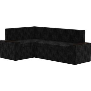 Кухонный угловой диван АртМебель Остин микровельвет черный левый угол