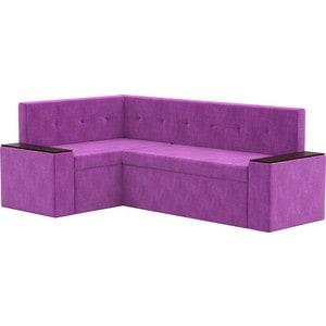 Кухонный угловой диван АртМебель Остин микровельвет фиолетовый левый угол