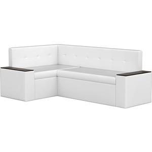 Кухонный угловой диван АртМебель Остин эко-кожа белый левый угол угловой диван артмебель андора ткань правый