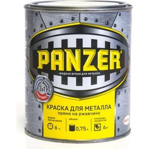 Краска по металлу PANZER ГЛАДКАЯ коричневая 0.75л. ral 8017 клин коричневая краска для синтетики
