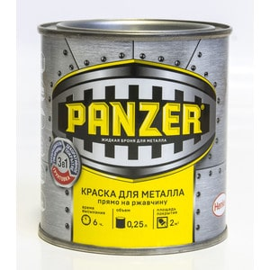 Краска по металлу PANZER ГЛАДКАЯ черная 0.25л. ral 9005