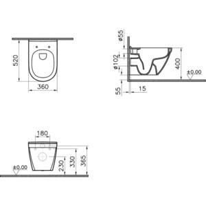Унитаз подвесной Vitra Zentrum без сиденья (5785B003-0075) vitra efes 6233b003 0075 со средним бачком